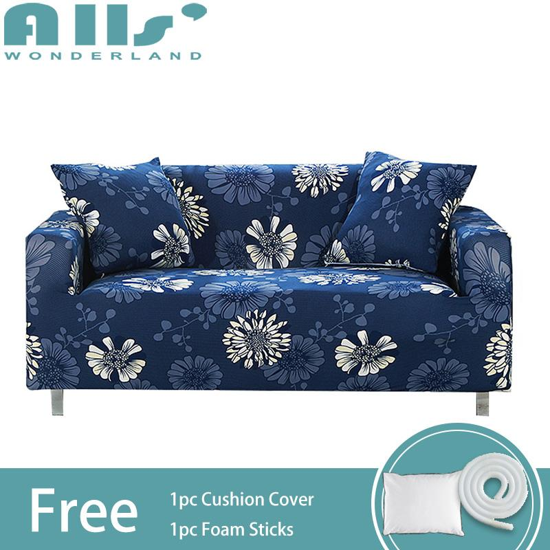 【Slipcover】Floral Patterns Elastic Full Cover Stretch Slipcovers Spandex Protector Sofa Cover(Length Range for 90-290cm/35.43-114.17)