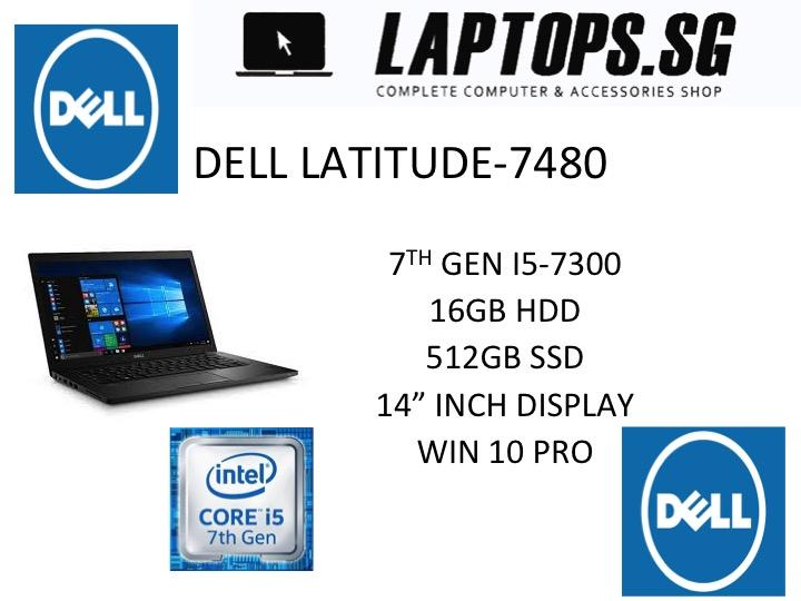 DELL FACTORY REFURBISHED WITH 1 YEAR  DELL ON -SITE WARRANTY LATITUDE 7480 i5-7300U / 16GB DDR4 RAM / 512GB SSD / INTEL HD GRAPHICS 620 / 14INCH FHD TOUCH SCREEN /WINDOWS 10 PRO