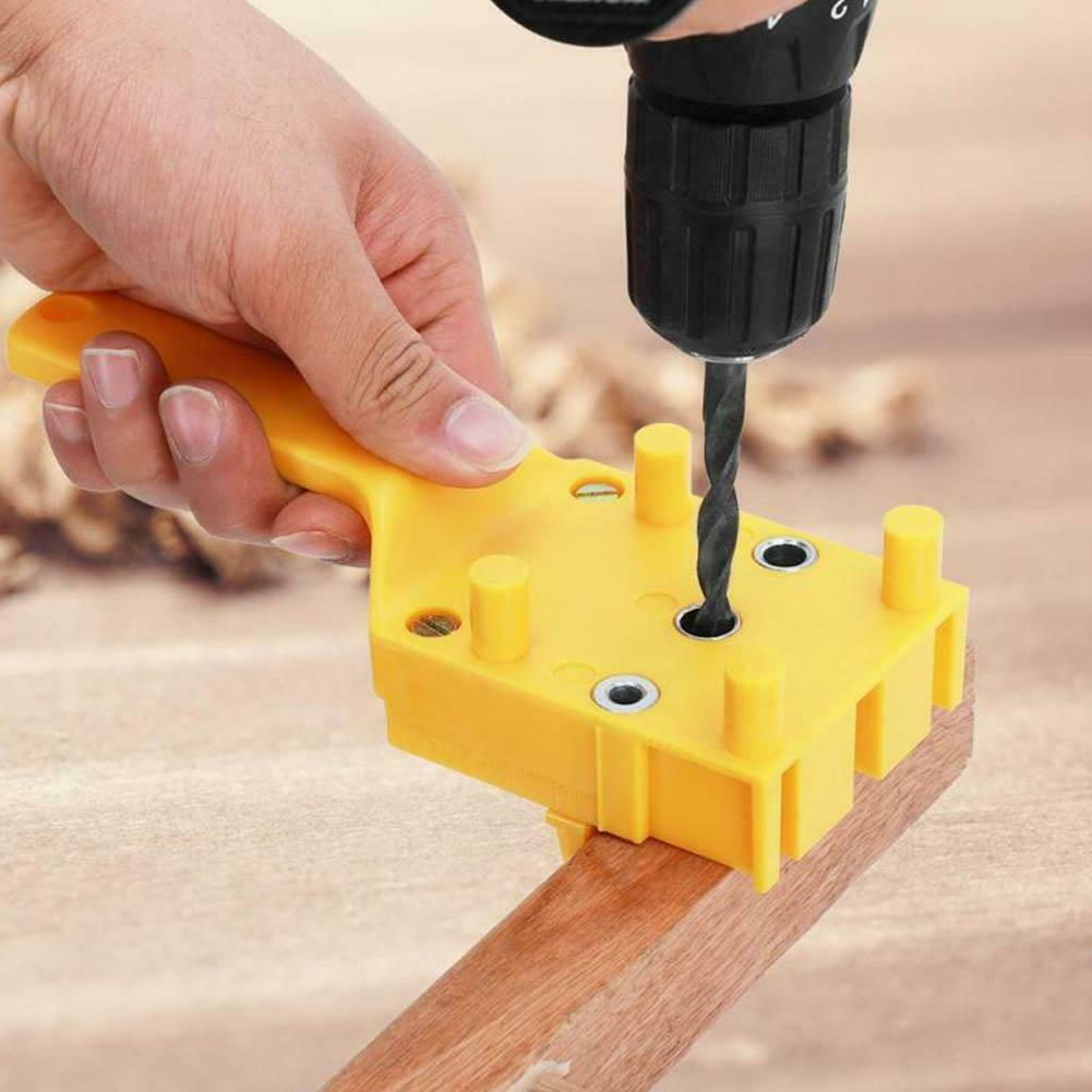 Big House Handheld Woodworking Positioning Jig Drill Guide Wood Dowel Drilling Hole Saw(Yellow)