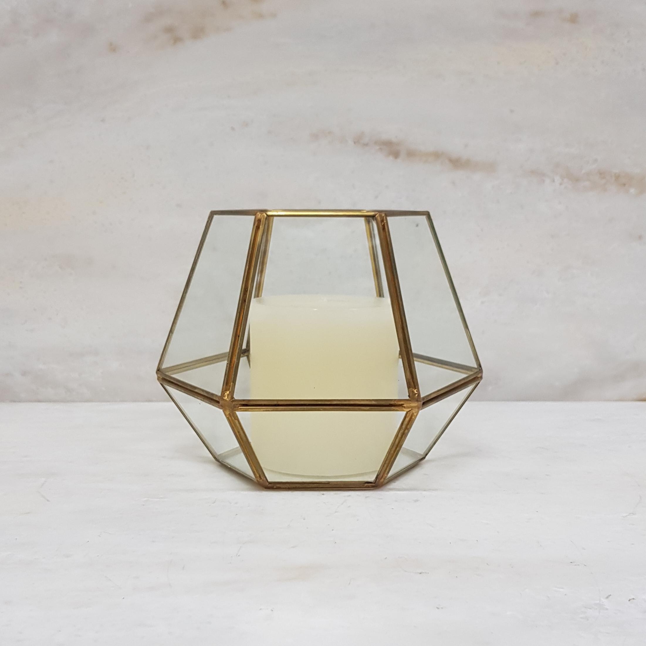 Gold geometric terrarium/ring boxes Octagon vase