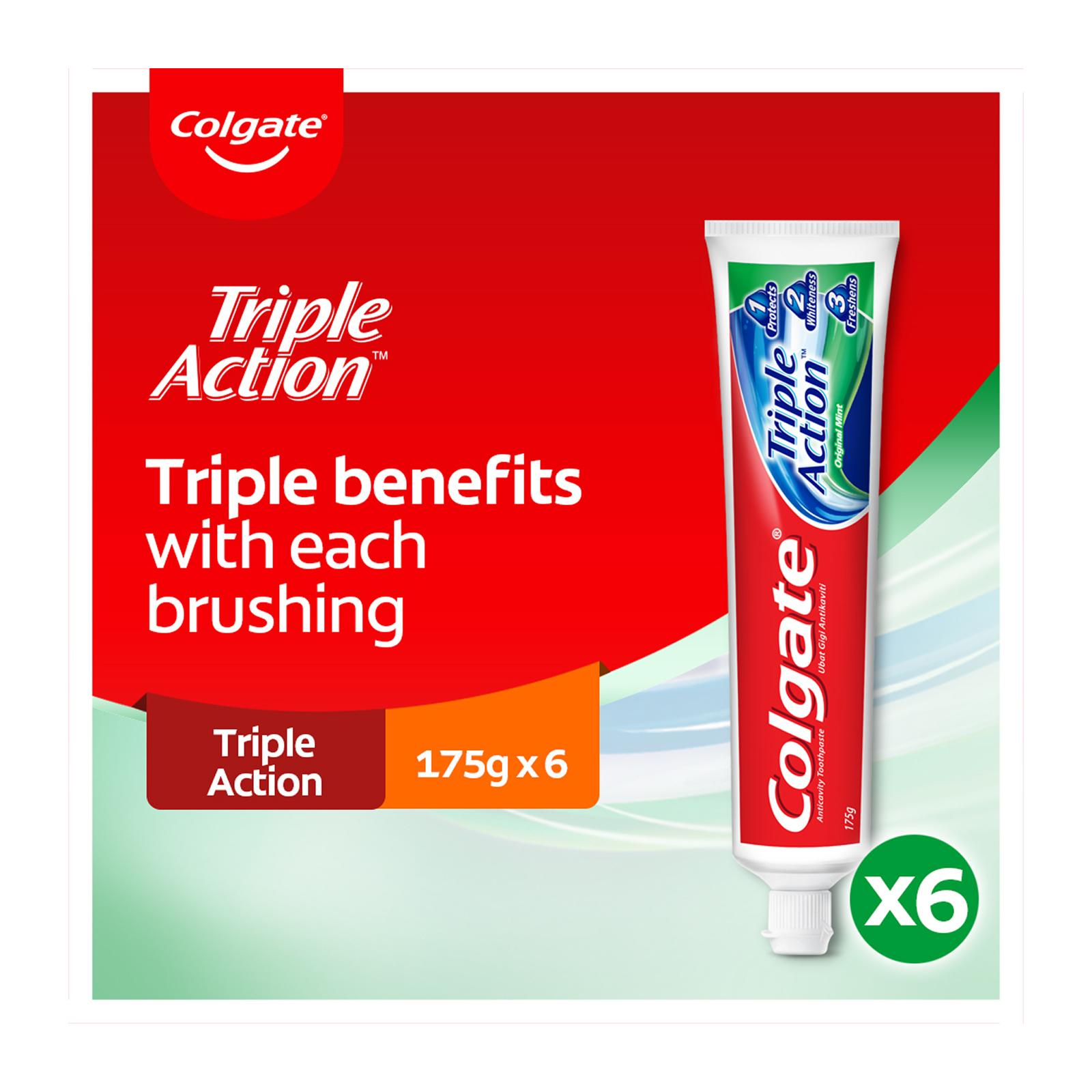 Colgate Triple Action Toothpaste Valuepack 175g x 2 [Bundle of 3]