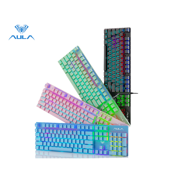 AULA factory shop S2022 mechanical gaming keyboard macro programming high and low key layout metal panel 26-key anti-ghosting cool luminous effect LED backlit keyboard suitable for computer gamers Singapore