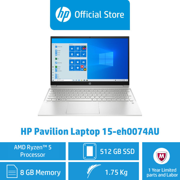HP Pavilion Laptop 15-eh0074AU / AMD Ryzen™ 5 4500U / 8GB RAM / 512GB SSD / Win 10 / Light / FHD IPS Display / AMD Radeon™ Graphics