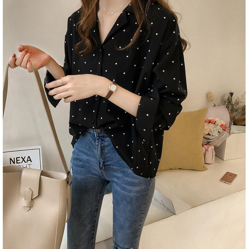 ec13b33f 2019 Early Autumn Women's Dress New Style Hong Kong Flavor Polka Dot Printed  Chiffon Shirt Female