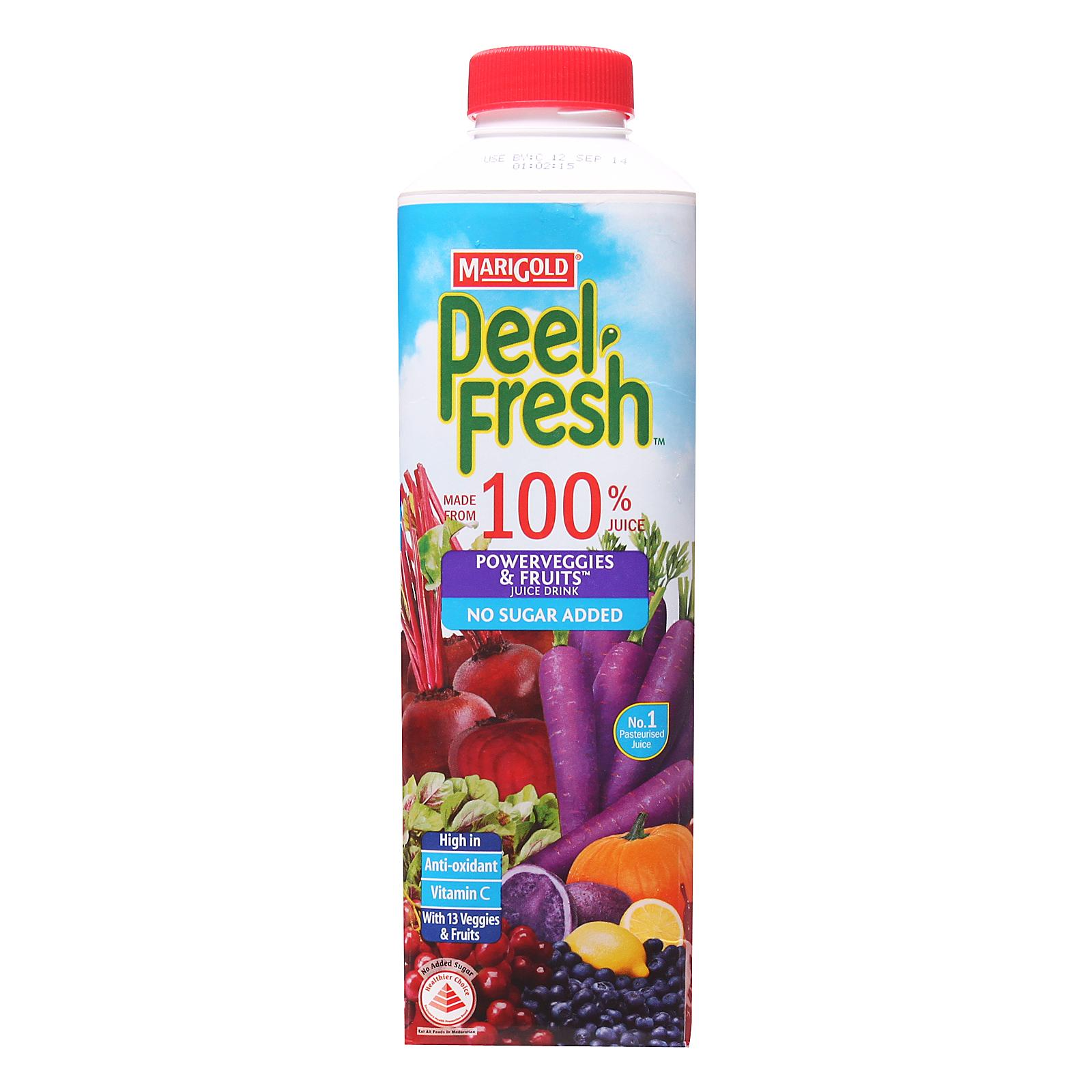 Marigold Peel Fresh No Sugar Added Juice Drink - Powerveggies And Mixed Fruits By Redmart.