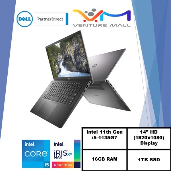 New 11th Gen (READY STOCK) New Vostro 14 5402- i5-1135G7/Win 10 Pro/ Iris® Xe Graphics/16GB RAM/1TB SSD/3yrs onsite warranty