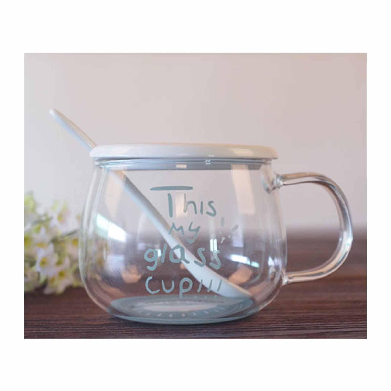 ToTT Glass Cup With Lid And Spoon-360Ml-Kiwi - By ToTT