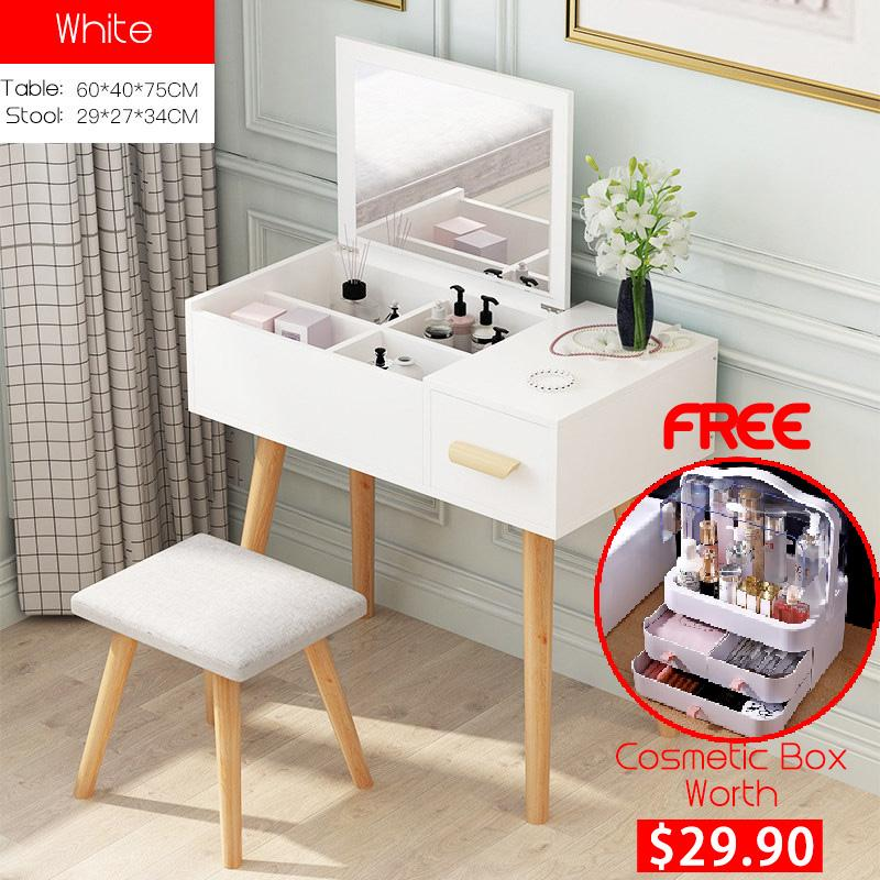 QZXL2 High Quality Wooden Dressing Table with stool vanity mirror simple classy modern elegant woman makeup organiser HDB Condo house master bedroom dressing room scratch resistant durable white wood [Delivery Within 3 Weeks]