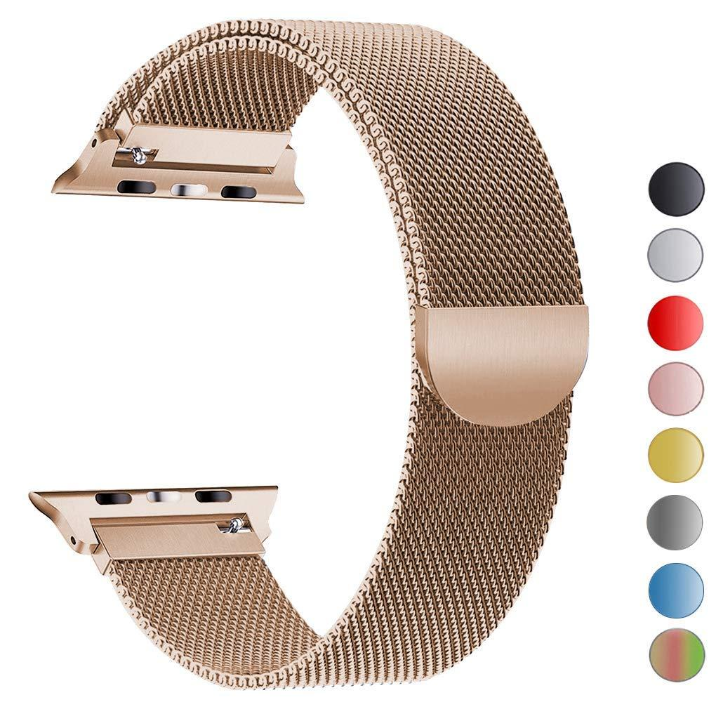 [sg] Apple Watch Apple Watch Band [38mm / 40mm], Stainless Steel Milanese Loop Replacement Strap With Magnetic Closure Iwatch Series 4 3 2 1 Sports [black/rose Pink/vintage Gold] - Local Sg Seller Fast Delivery By Premium Mobile Accessories.