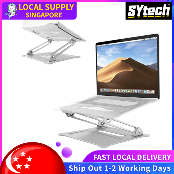 SYtech Laptop Stand, Ventilation and Cooling Multi-Function , Ergonomic Adjustable Laptop Riser Computer Laptop Stand Compatible with MacBook, Air, Pro, Dell XPS, Samsung, Lenovo, Alienware All Laptops 10-17.3, Supports Up to 44 Lbs -Silver