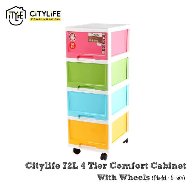 Citlife 72L 4 Tier Comfort Cabinet with Wheels