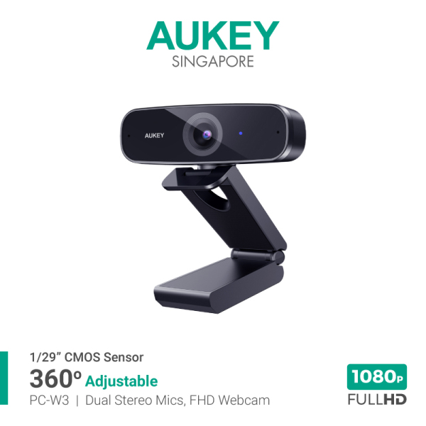 AUKEY PC-W3 Impression 1080P Full HD Webcam With Dual Stereo Microphones For Online Meeting, Streaming (18 Months Warranty)
