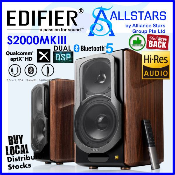 (*Limited Stocks are Available NOW 03Feb2021*) (ALLSTARS : We are Back / Audio Promo) Edifier S2000MKIII Bookshelf 2.0 Hi-Res Audio Bluetooth Speaker / Wood Color (Warranty 2years with BanLeong)