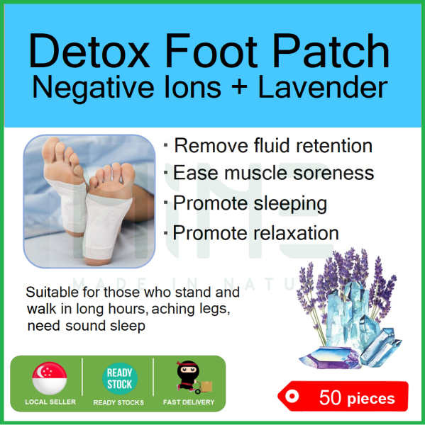 Buy Detox Foot Patch | Negative Ions + Lavender | 50 pcs | Detox | Remove fluid retention  | Ease muscle aching  | Promote sleeping  | Promote relaxation  | SG Seller | Foot Pad | MINE | MadeInNature.sg Singapore