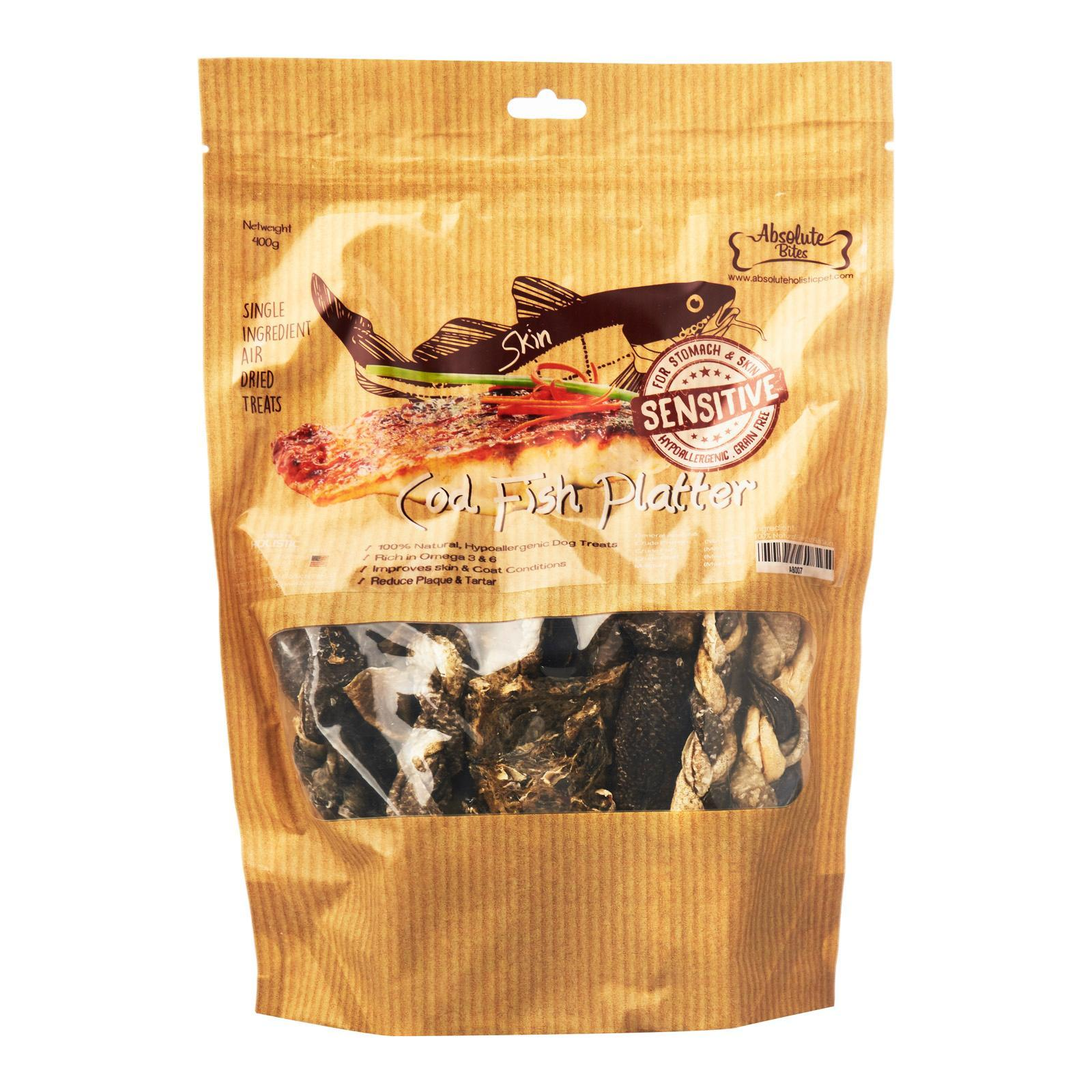 Absolute Bites Air Dried Cod Fish Platter 400g Dog Treats