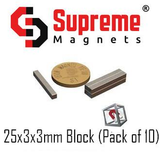 N50 Super Strong Powerful Neodymium Magnets Singapore 25mm x 3mm x 3mm block (pack of 10) LTS-SM-NB2533 Supreme Magnets