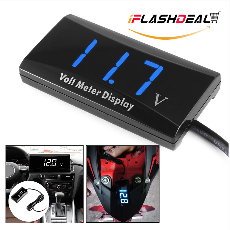 iFlashDeal Digital LED Display Voltmeter Car Motorcycle Voltage Volt Gauge  Panel Meter Detector TesterMonitor DC12V