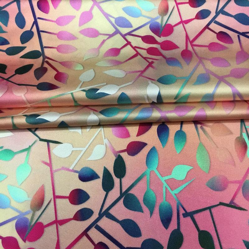 Cân Căng Vải Lụa Satin Vải Biến Đổi Dần Đầy Màu Sắc Lá Kỹ Thuật Số Hoa In Lớn Tơ Lụa Váy Liền Sườn Xám Chất Vải