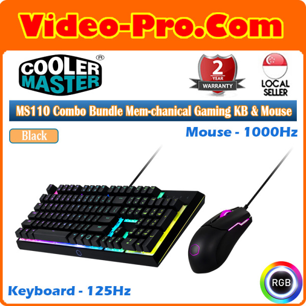 Cooler Master MS110 Combo Bundle with Mem-chanical Gaming Keyboard and Gaming Mouse (2-Years) MS-110 -KKMF1-US Singapore