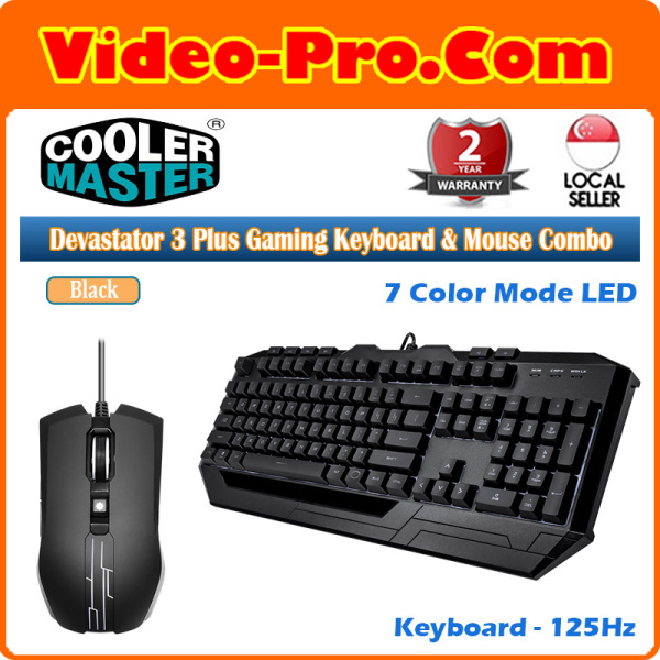 Cooler Master Devastator 3 Plus Gaming Keyboard and Mouse Combo, 7 Color Mode LED Backlit SGB-3001-K KMF1-US Singapore