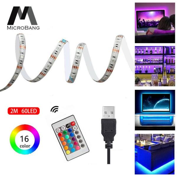 MicroBang LED Strip Lighting TV Backlight 5050 RGB Changing Color Waterproof Strip Kit, USB Power Monitor Back Light Bias Lighting with Remote Controller 2M 60 LEDs