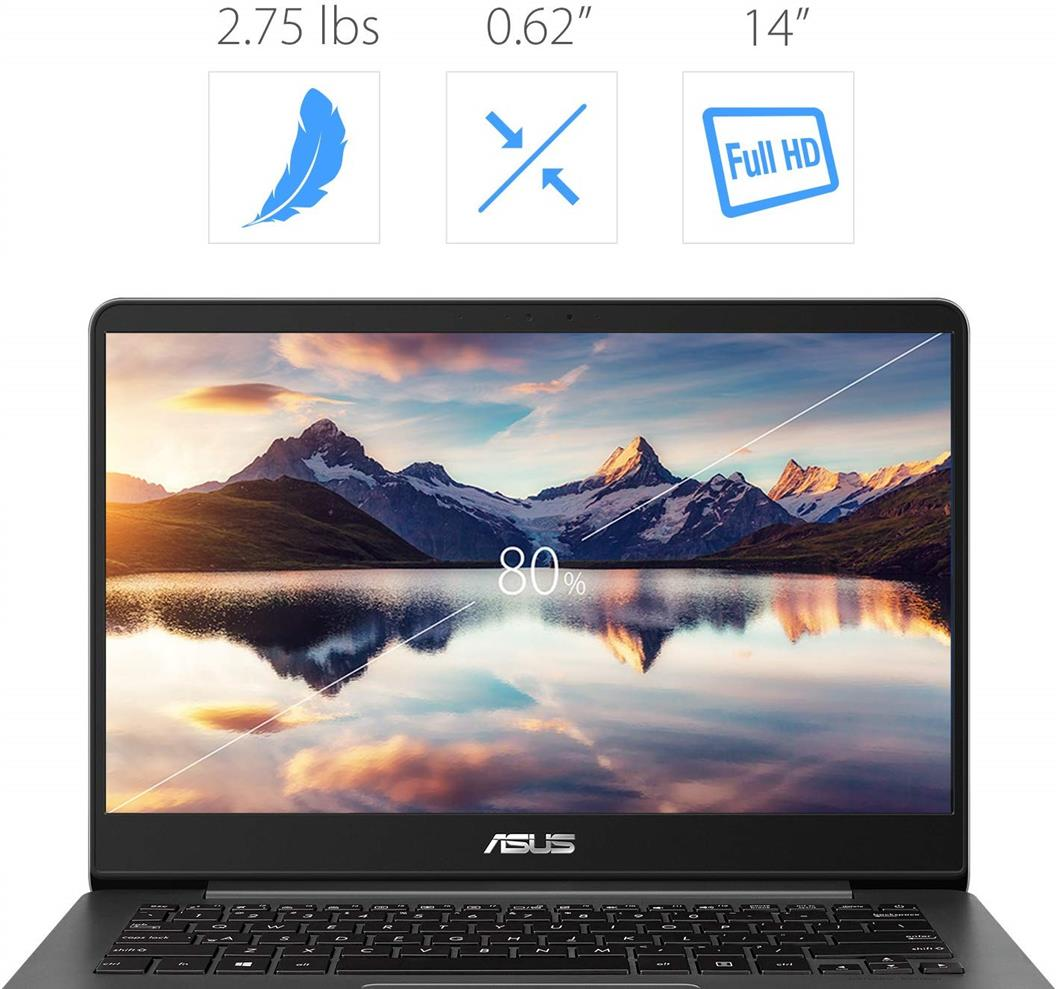 "ASUS ZenBook 14 Thin and Light Laptop - 14"" Full HD WideView, 8th gen Core i7-8550U Processor, 16GB DDR3, 512GB SSD, Backlit KB, Fingerprint Reader, Grey, Windows 10 Home"