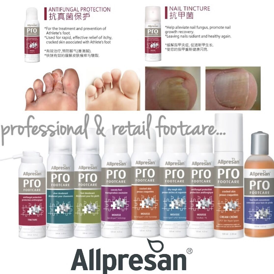 Allpresan Pro Footcare - Healthy Anti Fungal Nails Tincture | Cracked Skin | Dry Rough Skin |.