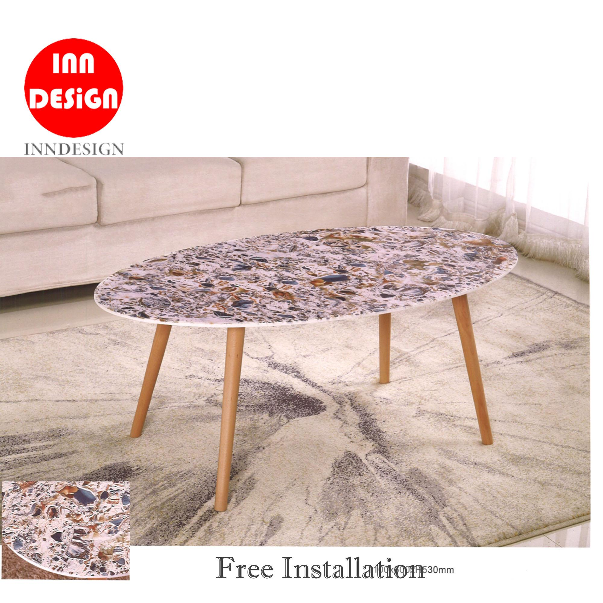 Eliza II Oval Coffee Table With Marble Texture (Free Installation)