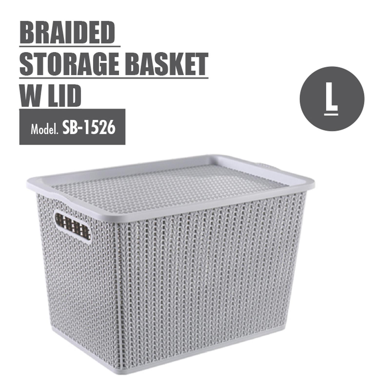 Houze Braided Storage Basket With Lid - Large - SB-1526-GREY