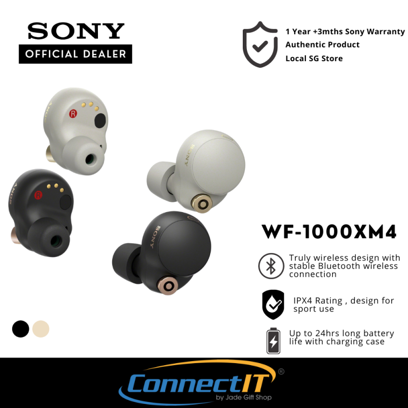 Sony WF1000XM4 Wireless Bluetooth 5.2 Earbuds With Noise Cancellation and IPX4 Rating-WF-1000XM4 .1 Year +3 Mths Local Warranty Singapore
