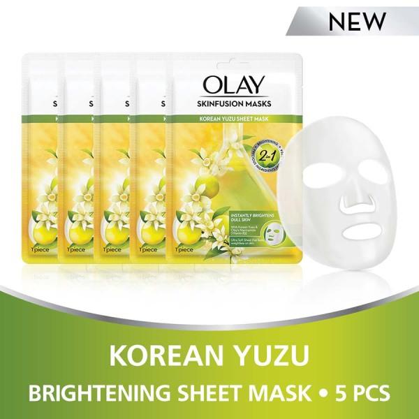 Buy [Bundle of 5] Olay Skinfusion Masks Korean Yuzu Sheet Mask 1x5 count Singapore