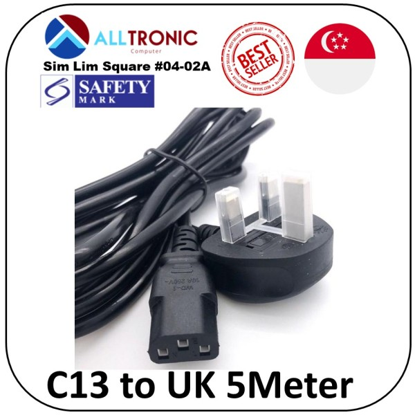 C13 to UK (3pin) Power Cable 5Meter with Safety Mark 13A fuse