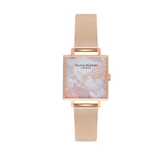 Olivia Burton Extract Florals Antique White Dial 23mm Quartz Womens Gold Stainless Steel Mesh Bracelet Strap Watch Ob16vm18 By Watch Centre.