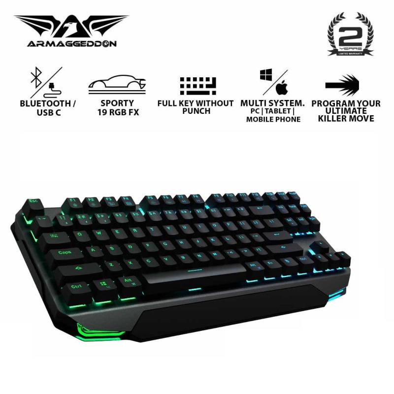 Armaggeddon MKA-17 Avenger RGB Bluetooth Mechanical Gaming Keyboard Windows/iOS/Android Singapore