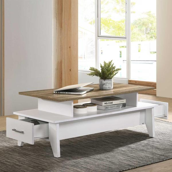 Coffee Table (Free Installation + Delivery) with 2 Drawers In Light Oak Living Room Furniture