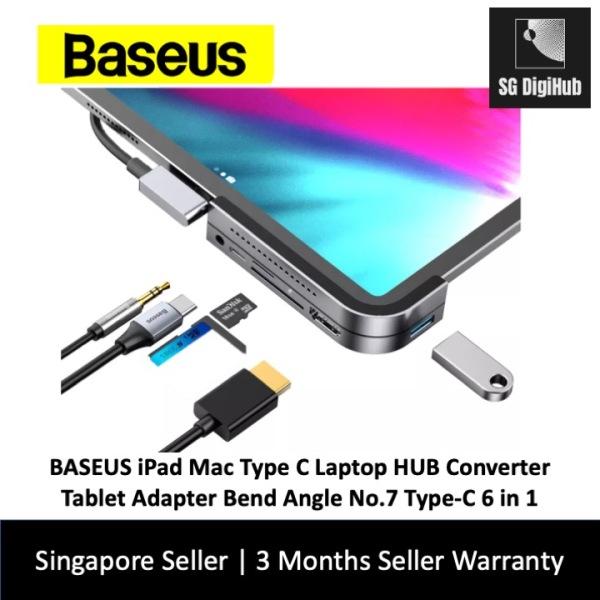 BASEUS iPad Mac Type C Laptop HUB Converter Tablet Adapter Bend Angle No.7 Type-C 6 in 1