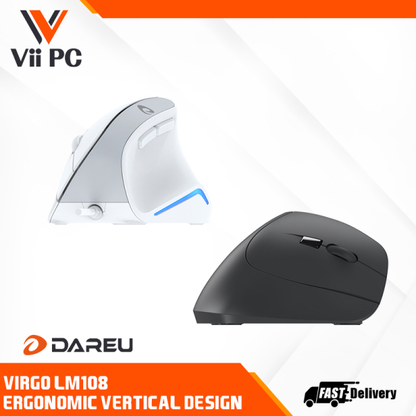 Dareu LM108 Vertical Wired mouse with WHITE/BLACK option with comfortable Ergonomic shell for designer and office worker