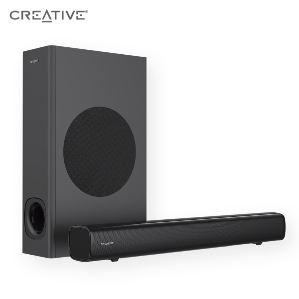 Creative Stage 2.1 Channel Under-Monitor Soundbar with Subwoofer for TV, Computers, and Ultrawide Monitors, Bluetooth/Optical Input/TV ARC/AUX-in, Remote Control and Wall Mounting Kit Singapore