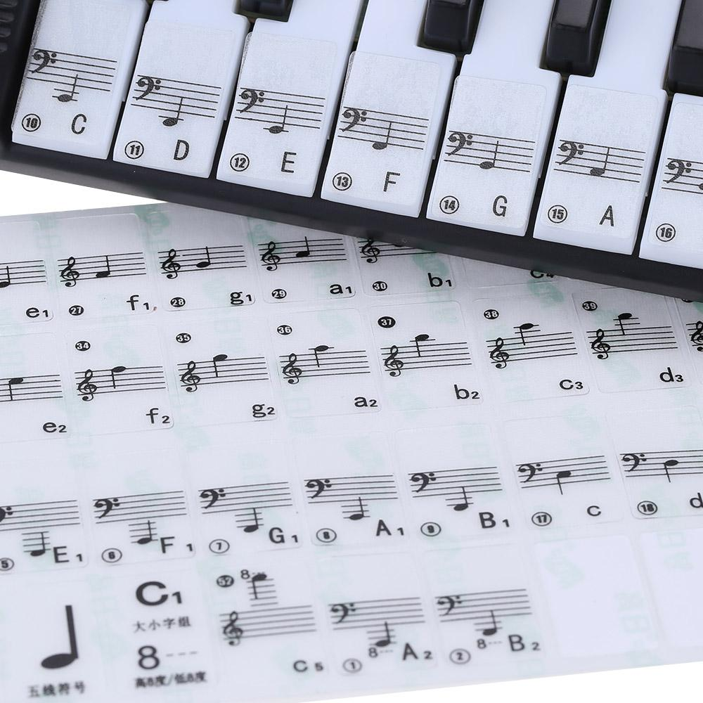 f2e64fdde62 Transparent 49 61 Key Electronic Keyboard 88 Key Piano Stave Note Sticker  for White Keys