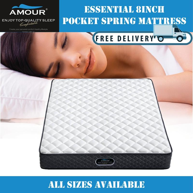 AMOUR BRAND ESSENTIAL 8 INCHES SWEET DREAM POCKET SPRING MATTRESS/ALL SIZE AVAILABLE