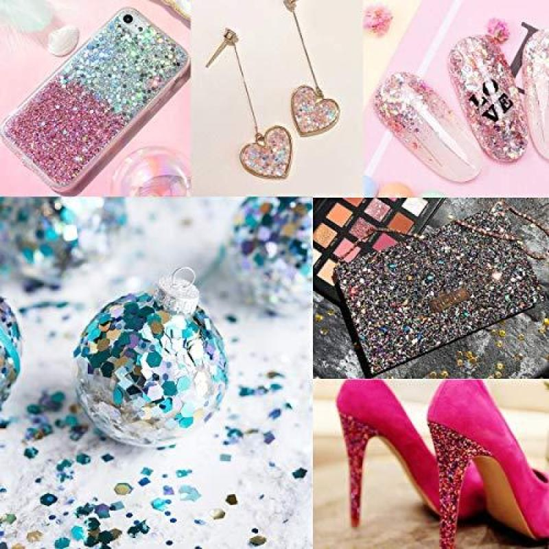 Buy PartyKindom Halloween Face Glitter Body Glitter 6 Colors Chunky Glitter with Long Lasting Gel for Festival Party Face, Body, Hair and Nails Art - 6 Boxes Singapore