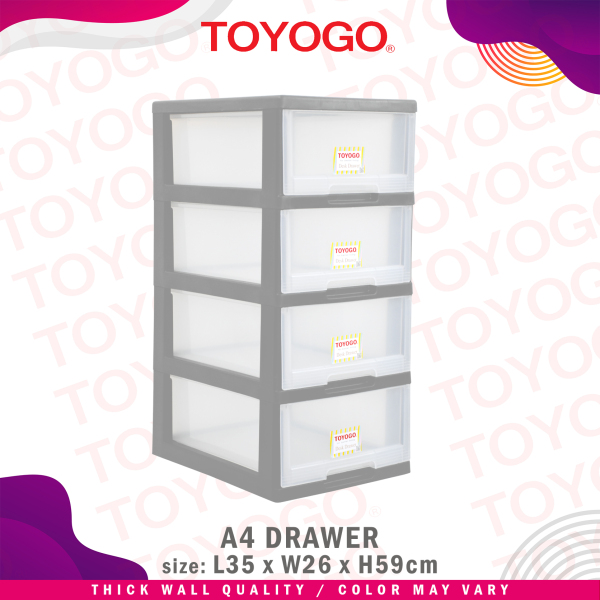 Toyogo Plastic A4 Stationery Drawer (4 Tier) (542-4)