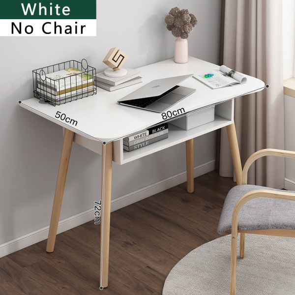 Study Table Desktop Home Office Desk Organizer Dressing Table Furniture Bedroom Living Room Nordic Walnut White 80cm 100cm 120cm with without Cushion chair [3 Weeks Delivery]