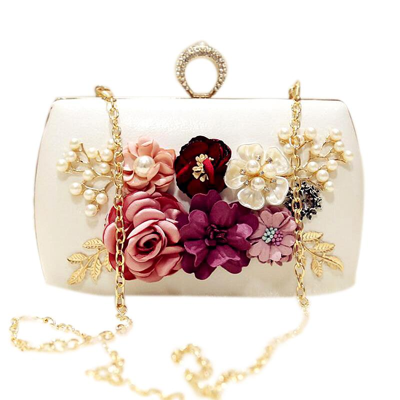 Voucher Khuyến Mại High Quality Luxury Handmade Flowers Evening Bags Brand Dinner Clutch Purse With Chain Flower Banquet Bags