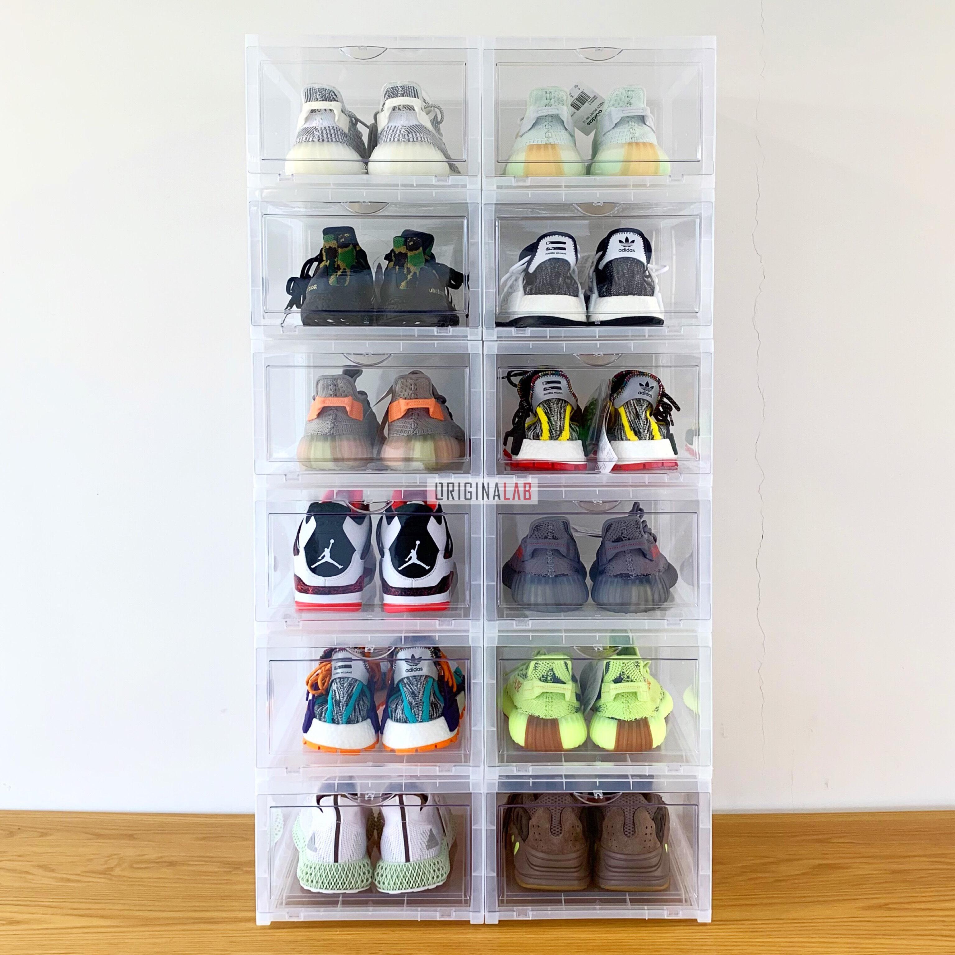 12 BOXES - ORIGINALAB Premium Stackable Shoe Box Clear HOT SALE