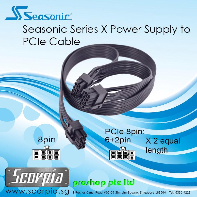 Seasonic X Series 8 to 6+2 x2 Pins Power Supply(PSU) to PCIe Cable