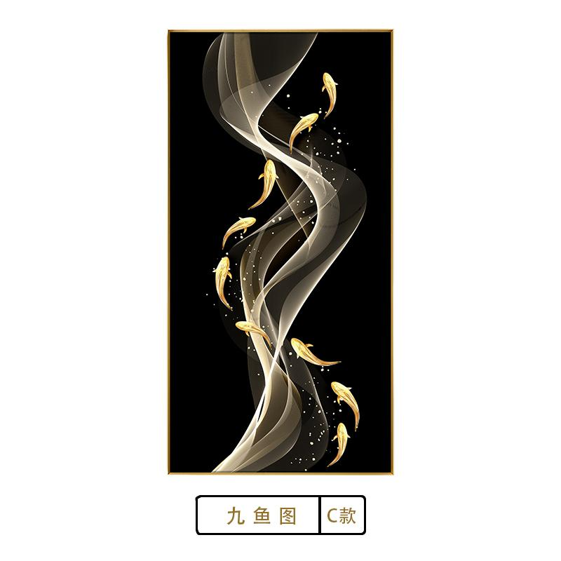 Crystal Porcelain Painting Living Room Decorative Painting HYUNDAI Light Luxury Significantly Entrance Painting Hallway Decorative Painting Hotel Paintings Restaurant Painting Fish