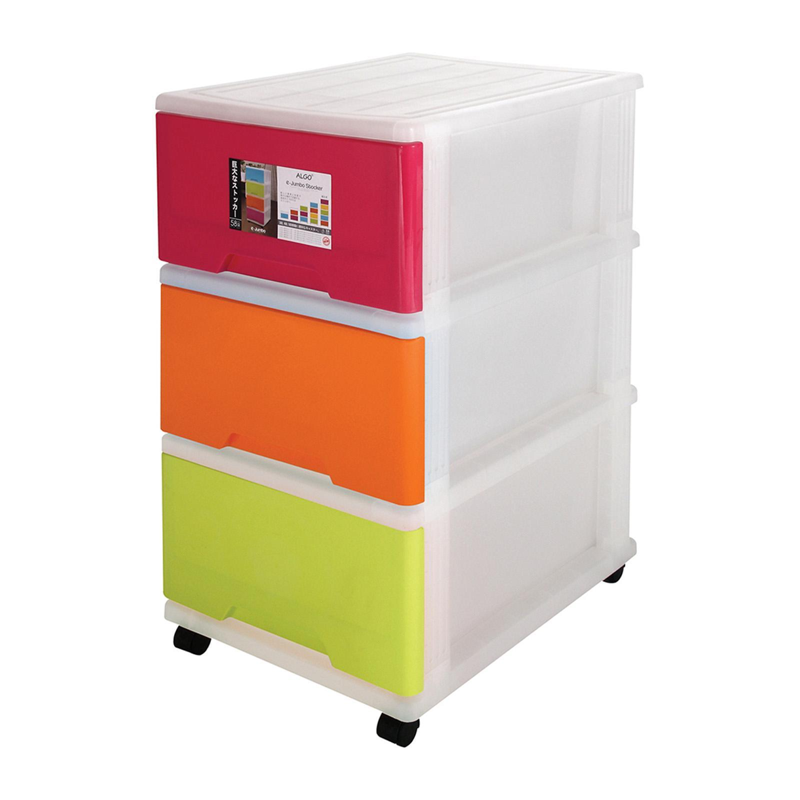 Algo E-Jumbo Stocker 3-Tier With Wheels Multi-color