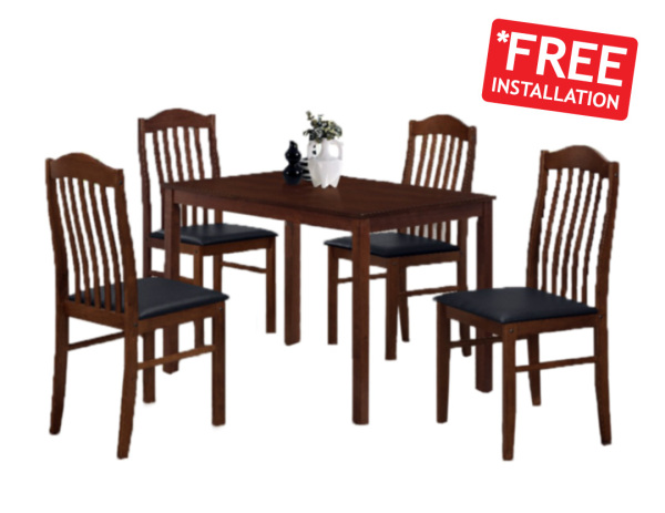 [Furniture Amart] 1+4 Modern Solid Wooden Dining Set Table Chair cushion seat (Free Install)