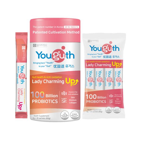 Buy YOUGUTH PROBIOTICS Lady Charming Up Gut Health + Beauty Boost 2g x 30 sachets (100 Billion CFUs) Singapore